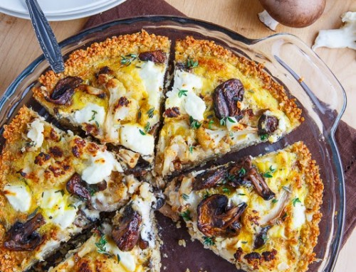 Roasted Cauliflower, Mushroom and Goat Cheese Quiche with Amaranth Crust