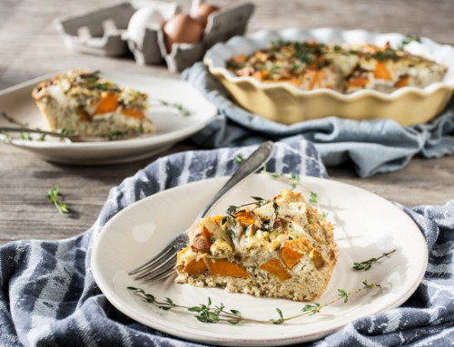 Sweet Potato and Goat Cheese Quiche with Amaranth Crust