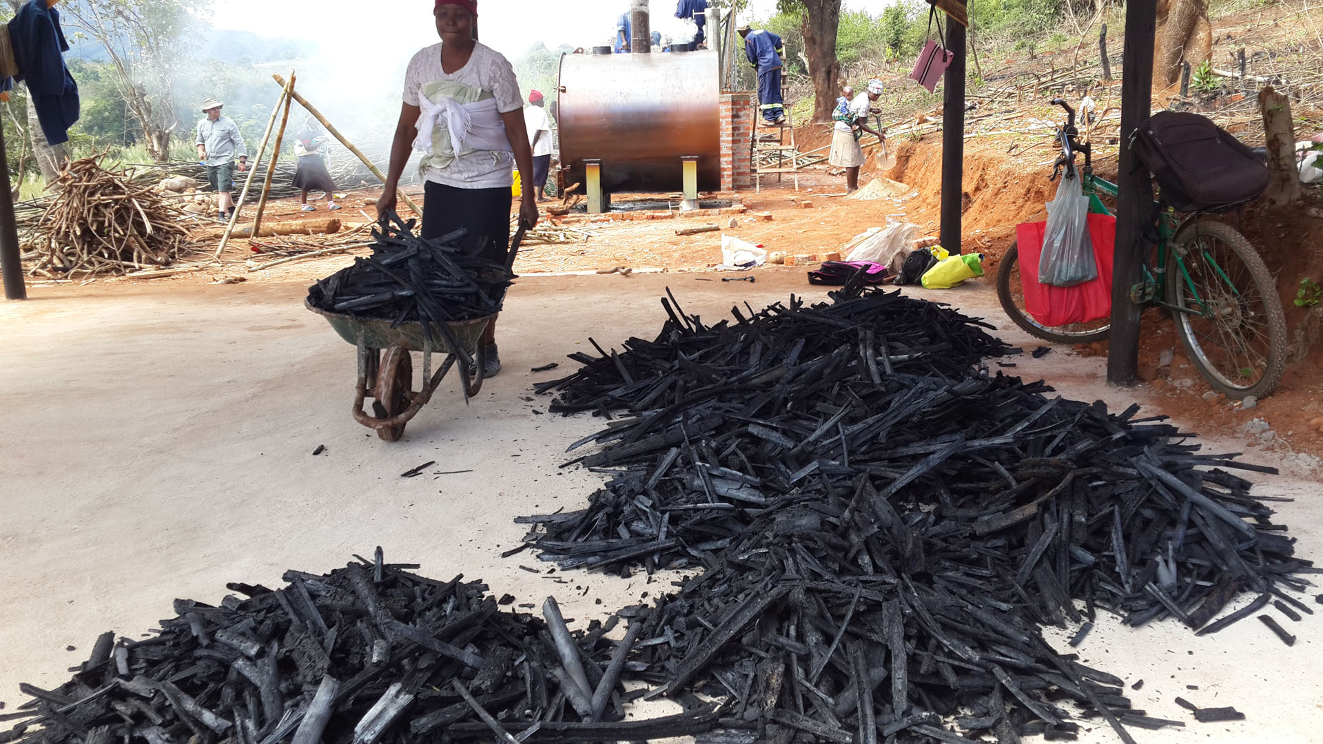 Bamboo charcoal production at Sagambe, Honde Valley
