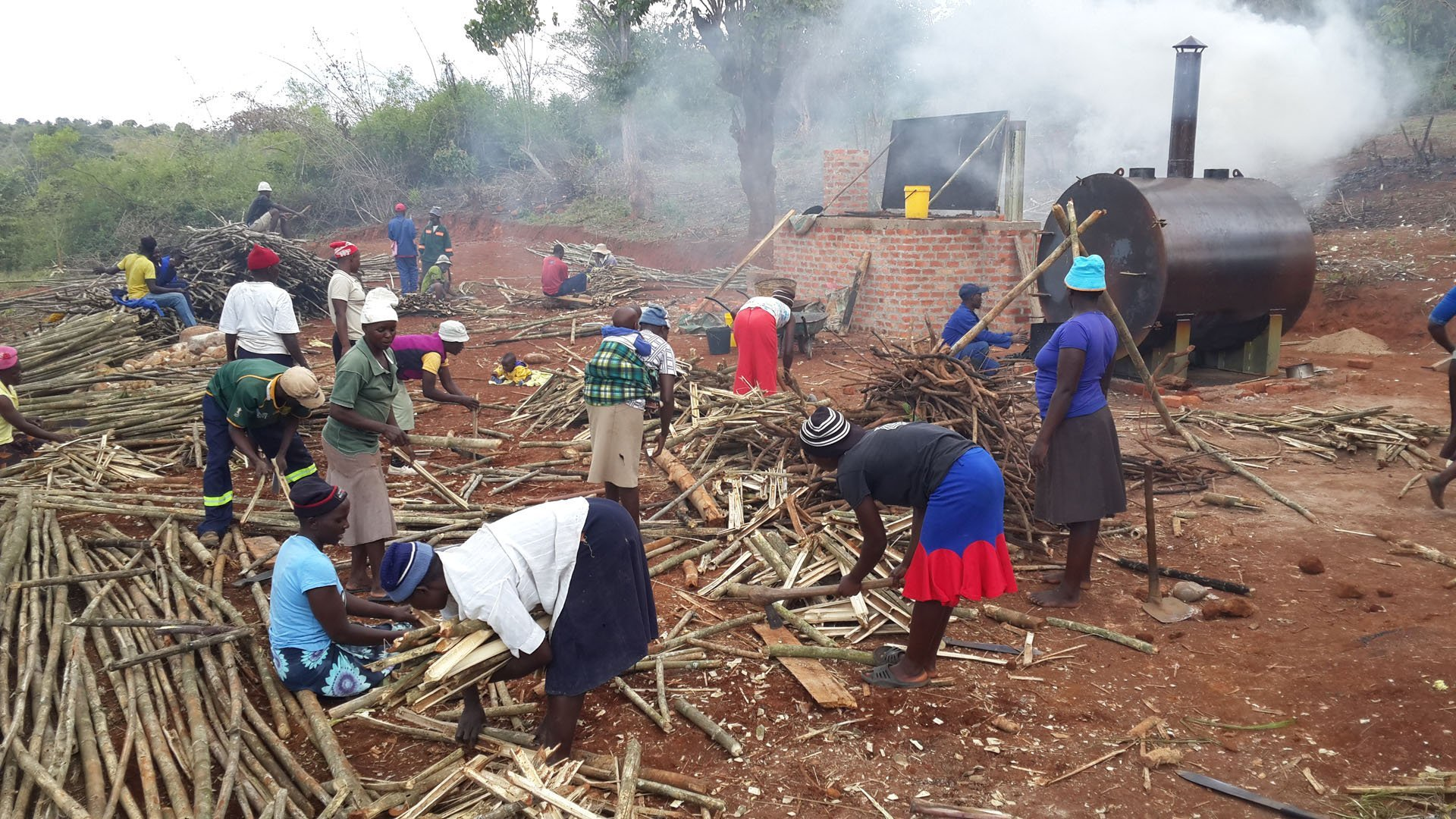 Local farmer group making charcoal from bamboo in Sagambe, Honde Valley